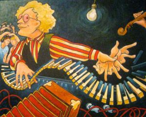Painting of Tom Leighton playing piano