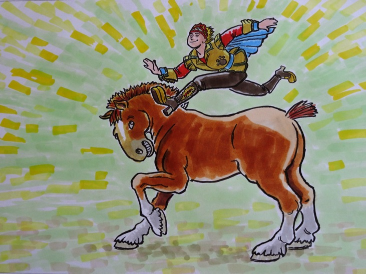 """""""Able to leap over a Clydesdale in a single bound!"""" by Dennis Martin"""